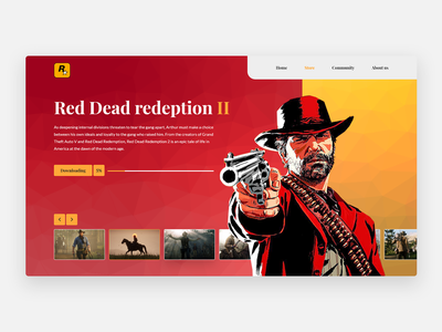 Video game - Concept uidesign gun shooting cowboy america western uiux ui rockstar video game videogame rdrd2 red dead redemption webdesign minimalism concept clean clean ui minimal