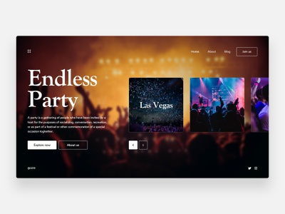 Party - Concept fire concept web design dj dancing dance parties dark ui dark homepage landing page minimalism simple minimal clean ui festivals festival fun party