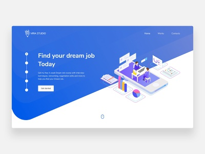 Job - Concept beautiful studio clean design job board job listing job application find dream interview vector illustration minimalism minimal landing page landing concept homepage clean ui jobs job