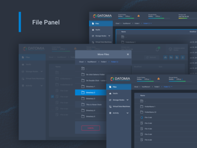 Datomia File Panel ux ui admin dashboard cloud showcase web files panel