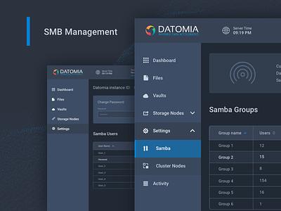 Datomia Samba Management panel files web ux ui showcase dashboard cloud admin