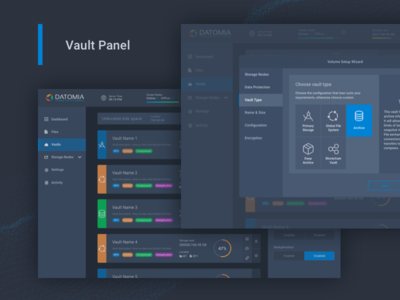 Datomia Vaults Management files panel web ux ui showcase dashboard cloud admin