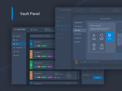 Datomia Vaults Management files panel web ux ui showcase dashboard cloud admin
