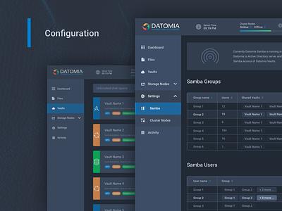 Datomia Storage Configuration files panel web ux ui showcase dashboard cloud admin