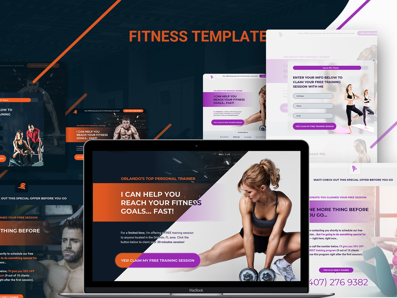 Fitnes Trainer overview design sketch brand uiux template web fitnes trainer