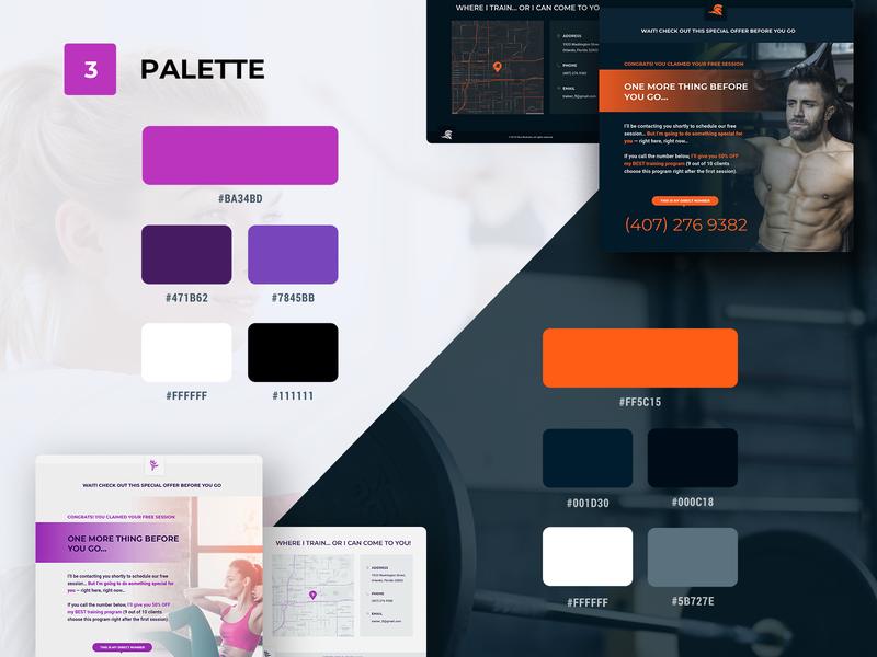 Fitnes Trainer Palette trainer fitnes web template uiux brand sketch design overview
