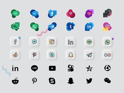 Social media icons fluent design fluent design social network dark neomorphism instagram twitter youtube facebook flat glyph line download svg icon icons