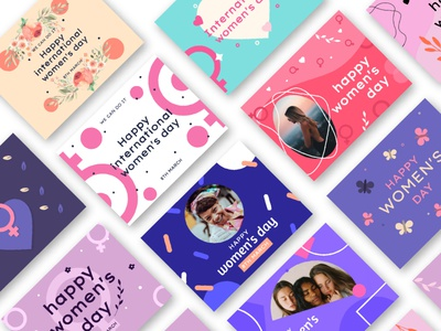 International Women's Day Design Pack posters cards free design vector