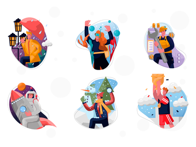 A new pack of colorful illustrations by Artify free freebie illustration