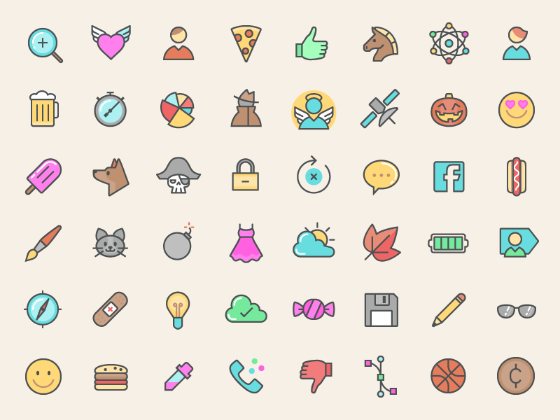 500+ FREE Color Line Icons ios flat freebie free svg png vector app web icons line color