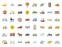 +6000 FREE Flat Transportation Icon Set