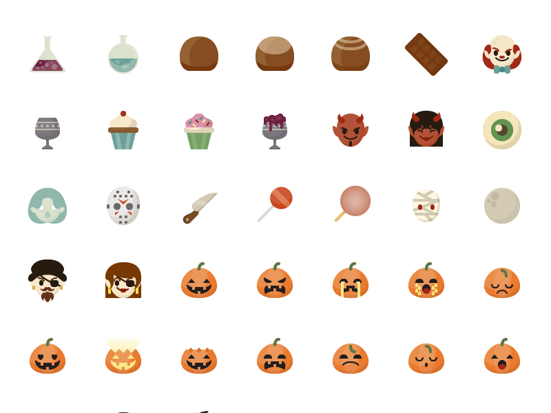 Halloween Icons color flat october pumpkin icons vector halloween download icon freebie free