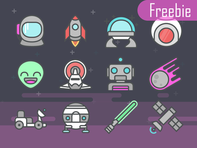 Free Space Icons vector svg space line icons icon glyph freebie free download color alien