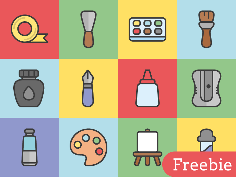Free Art Tools Vector Icons icon free freebie illustration download glyph line tool svg icons vector art