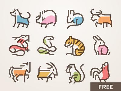 Xīn Nián Kuài Lè! 春节图标 - Free Chinese New Year icons spring 生肖 图标 新年 春节 chinese vector free icons animals