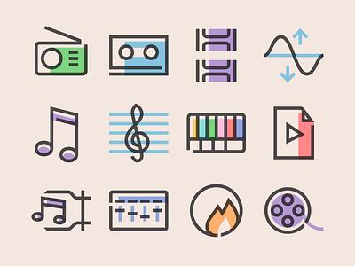 Glyph Multimedia Icons 向量 图标 video multimedia svg vector glyph freebie free icons icon