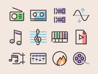Glyph Multimedia Icons