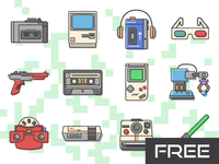 Free 80's Retro Vector Icons