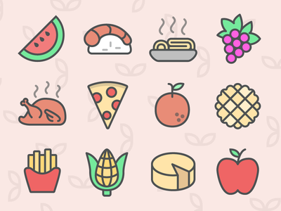 Color Food Icons vegetables 图标 meal svg flat fruits 餐饮 vector free icons icon food