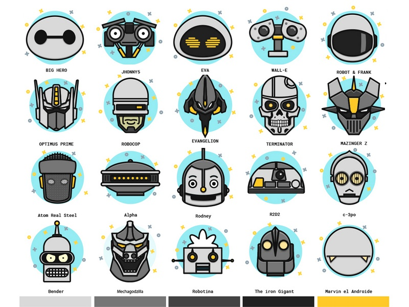 Famous Robots Icons robocop mazinger transformers terminator futurama evangelion star wars vector icons freebie robots famous