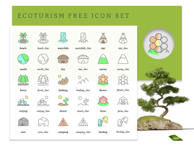 Eco-tourism Free Icon Set 生态 download free vector environment ecofriendly travel conservation nature freebie icon