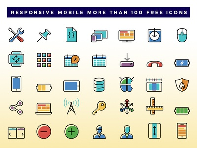 Responsive Mobile Icon Dribbble illustration download free png responsive mobile freebie icon vector editable color line