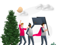 Person holding a black flag, with supporters & 3D tree - WIP illustration art ui design 平面设计, плоский дизайн scenes flat illustration flat design character design characters illustration