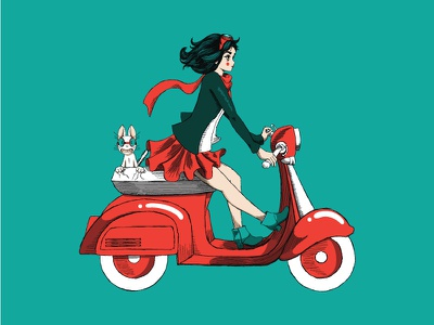 Mad and Piccolo continue their adventure vespa cat drawing illustration brand