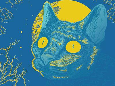 Yellow eyed demon mistique drawing detailed night cat illustration