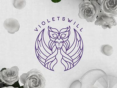 The goddess Athena fashion cosmetics design logo animal owl athena goddess line-art
