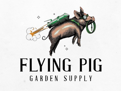 Flying Pig rocket flying supply garden logo designer graphic illustration pig