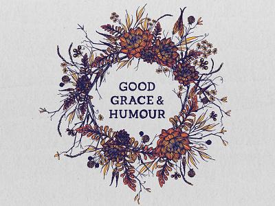 Good Grace & Humour illustration detailed flowers designer design graphic logo florist