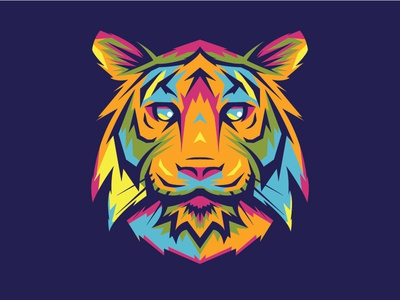 Mad Tiger geometric animal tiger vibrant colorful
