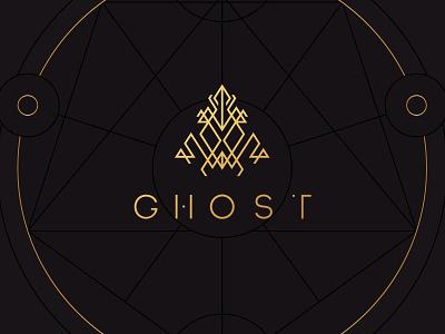Ghost geometric alien minimal magic logo line-art
