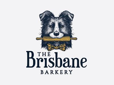 The Brisbane Barkery border-collie dog-food hand-drawn bakery illustration pet playful animal logo