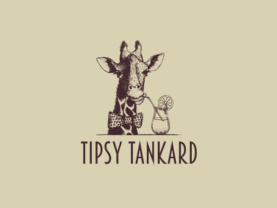 Tipsy Tankard barware glass giraffe fun character drink food design logo