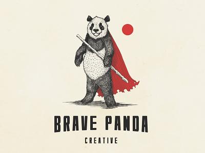 Brave Panda Creative brave detailed panda hand-drawn superhero drawing illustration logo