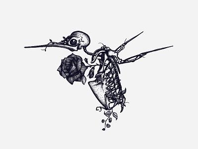 Hum intricate hummingbird roses bones flowers skeleton bird drawing illustration feminine fashion t-shirt