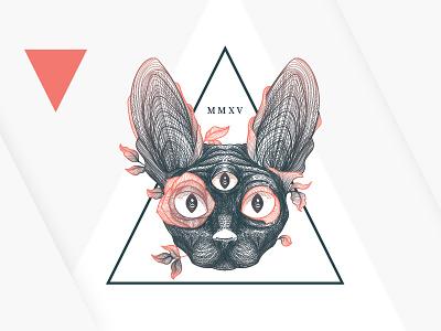 Mad Pepper Brand change transition cat detailed tattoo realistic bird illustration geometric art design logo