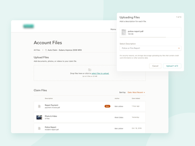 Account Files Library drag drop ui. ux product design insurance card list sort upload library documents files index