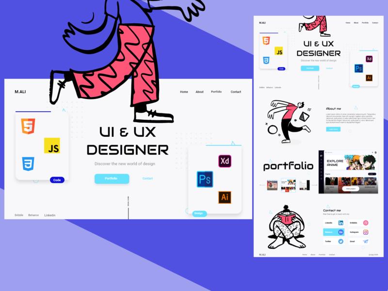 Portfolio Design illustraion ui design colors creative landingpage uiux ux ui
