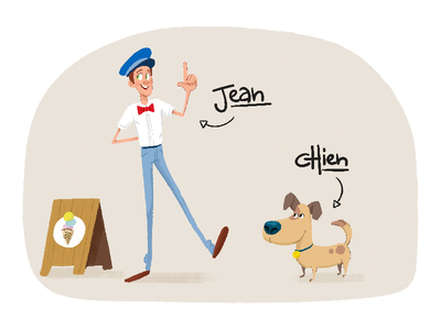 Jean & son chien dog animation design character