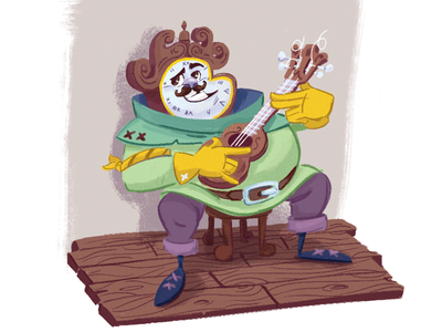 Larry the clock man kidlit illustration clock character