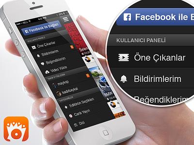 Left menu of izlesene.com mobile app video navigation sidebar left menu ios icons android iphone app ui