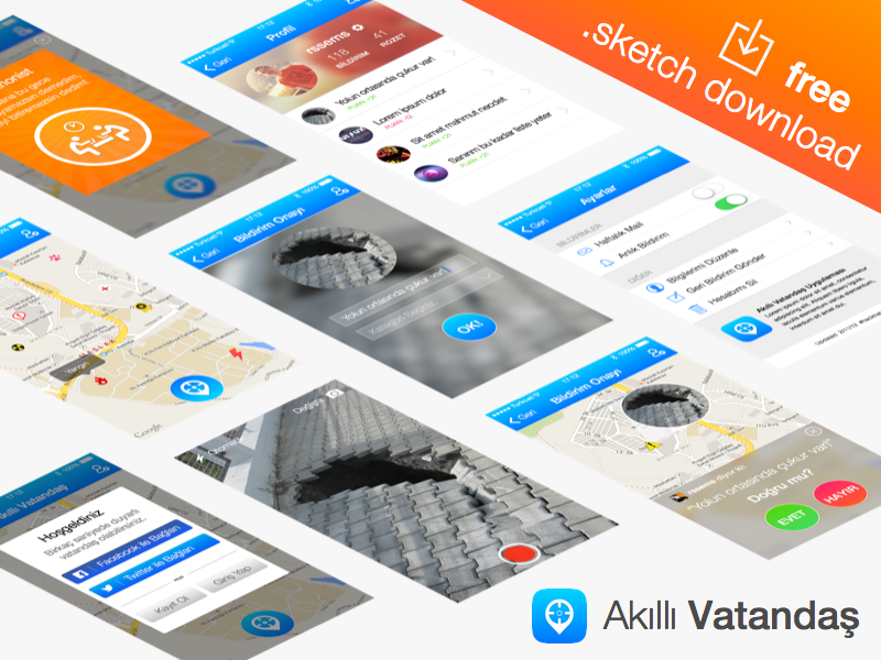 Akıllı Vatandaş - free .sketch download flat sketch freebie download mobile app badges login map settings profile vector psddd