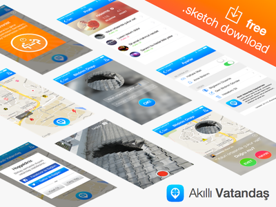 Akıllı Vatandaş - free .sketch download flat sketch freebie download mobile app badges login map settings profile vector psddd