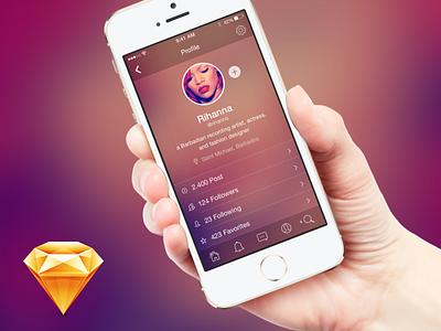 Profile Screen - free .sketch download iphone free freebie download sketch flat ios7 mobile app profile twitter freebies