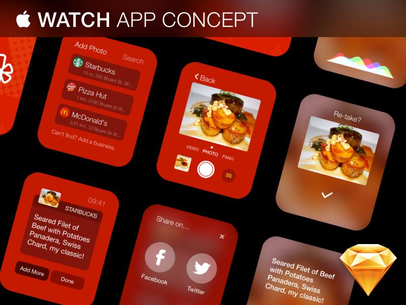 Apple Watch App Concept - Free .Sketch Download apple watch free gui yelp sketch vector iwatch