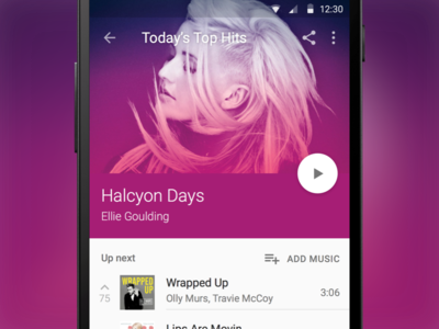 Material Design Music Player (Sketch freebie)