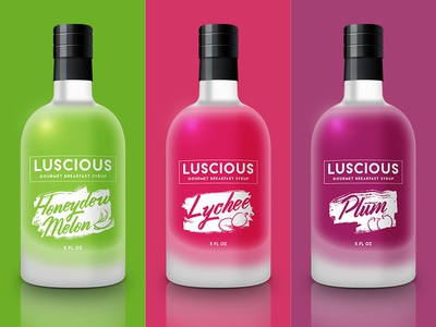 Luscious: Gourmet Breakfast Syrup package design branding packaging food colorful saturated colors syrup fruit breakfast
